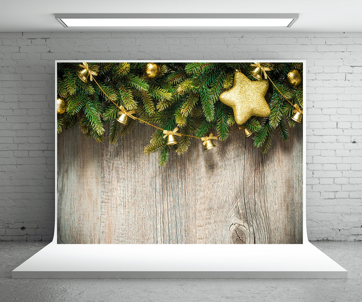 Christmas Wood Wall Photography Backdrop Pine Branch Background