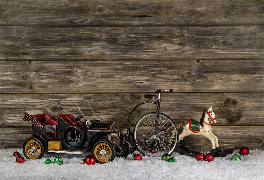 Christmas Wood Wall Photography Backdrop Snow Background