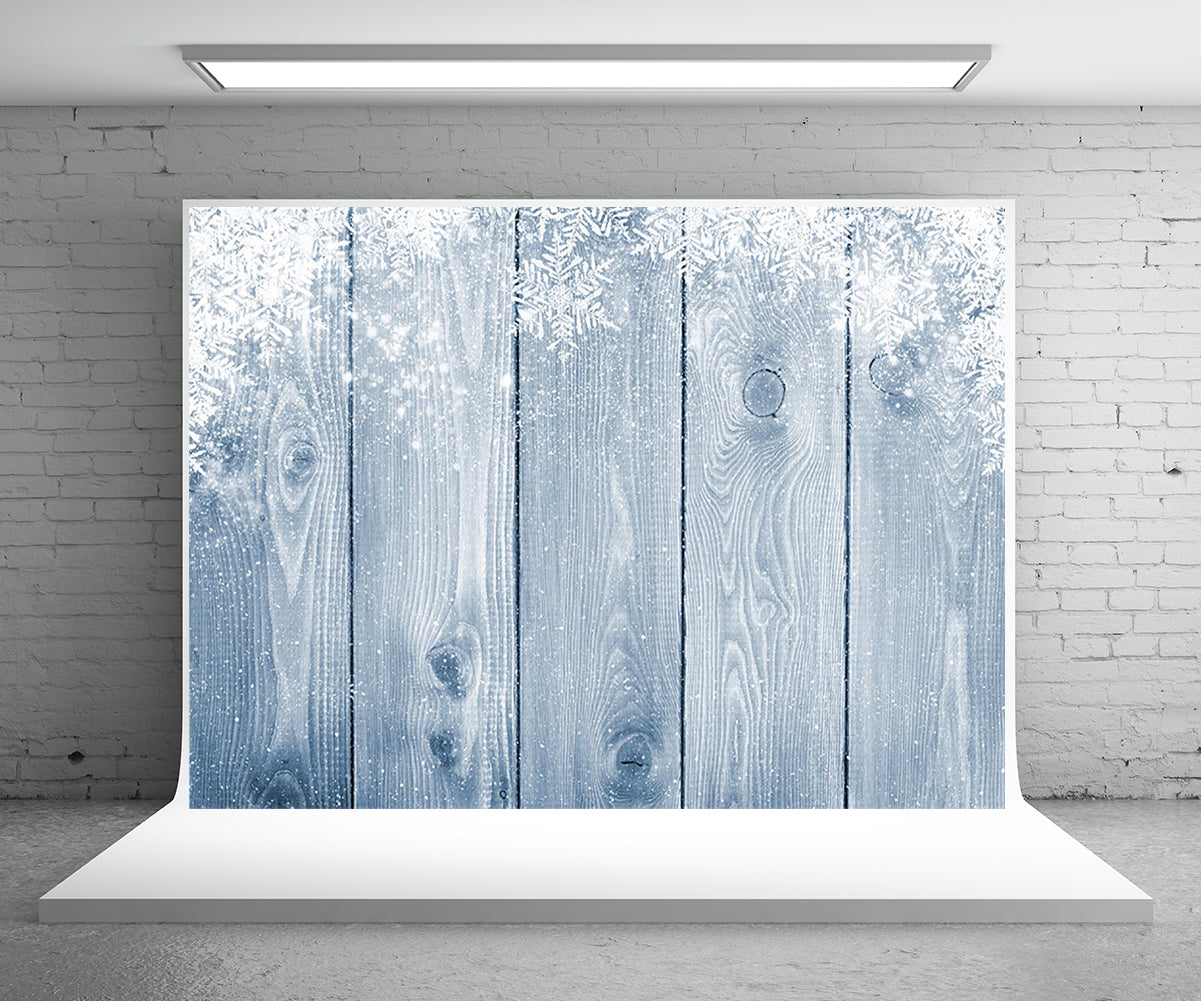 Snowflake Wood Wall Photography Backdrop for Christmas