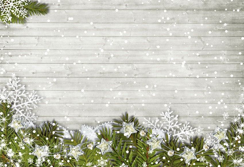 Christmas Photography Backdrop Snowflake White Wood Wall Background