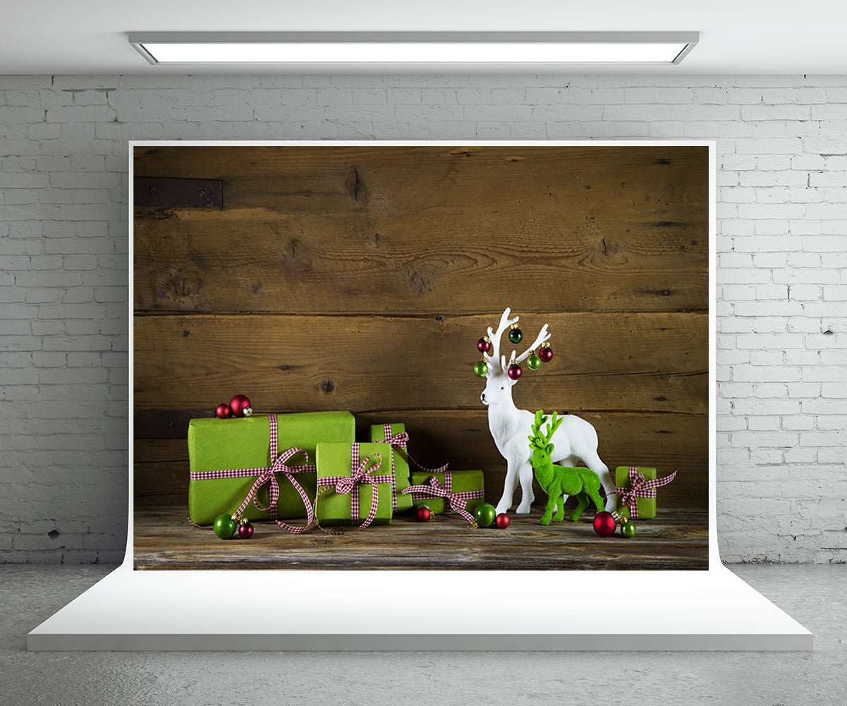 Christmas Photography Backdrop Gift Wood Wall Background