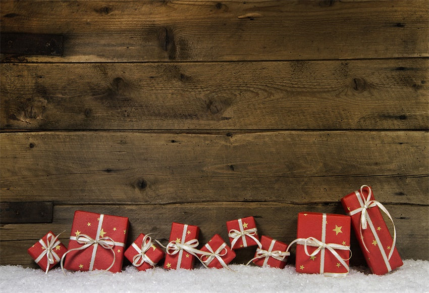 Red christmas gift snow photography background wooden wall background