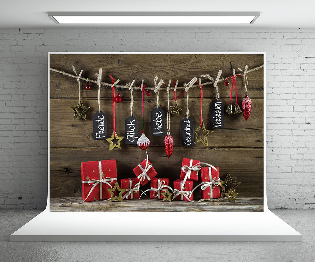 Christmas Gift Photography Backdrop Wood Wall Photo Background