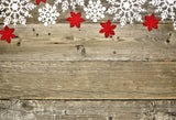 Snowflake red leaves wooden wall photography background Christmas background