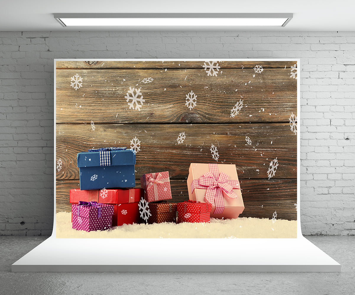 Christmas gift photography background snowflake wooden wall photo background