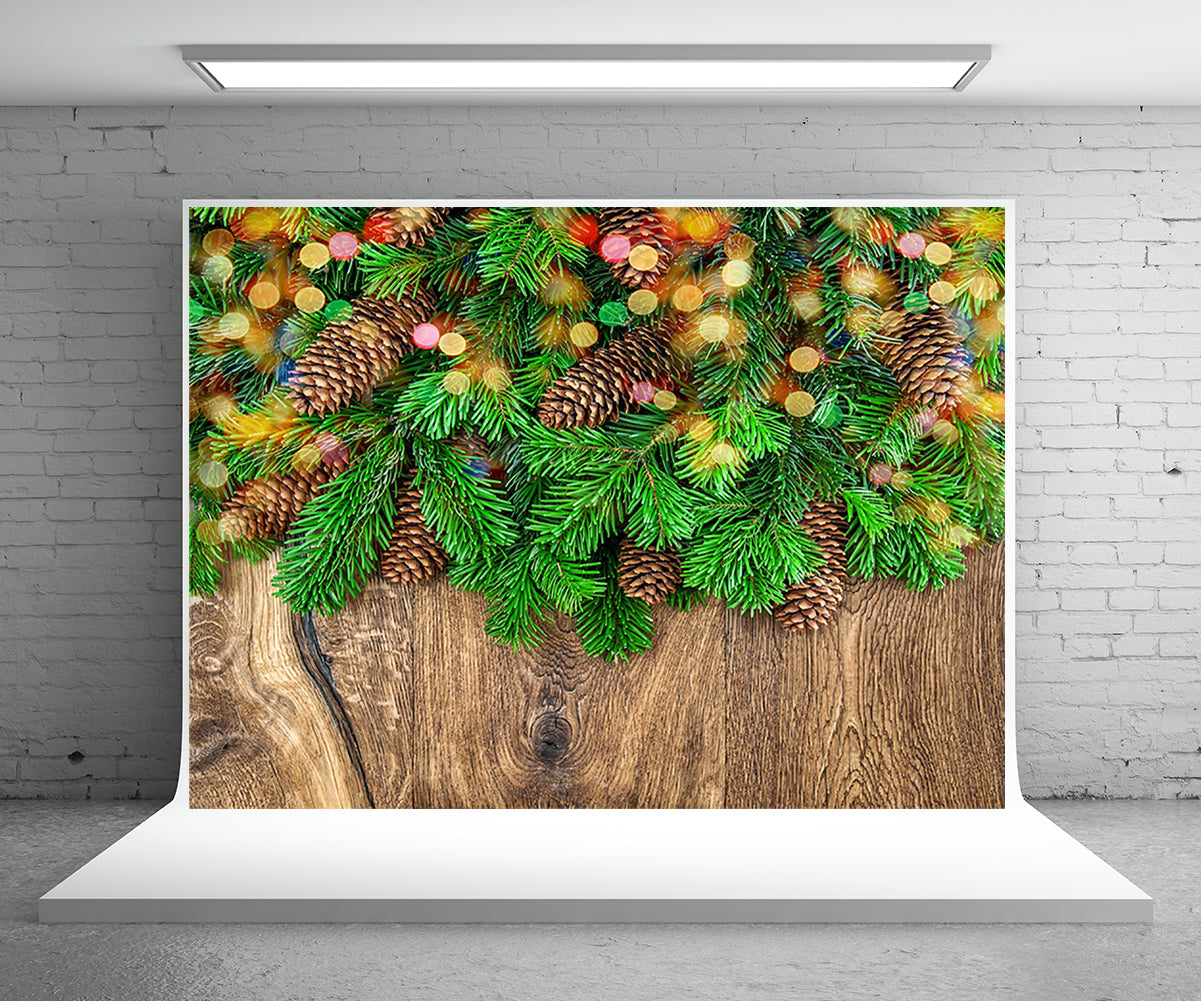 Pine Branch Wood Wall Photography Backdrop for Christmas