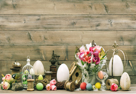 Easter Wooden Flower Eggs Photo Backdrops