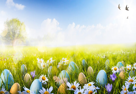 Spring Easter Grass Colorful Eggs Flower Backdrop for Photography