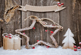 Christmas Photography Backdrop Snow Wood Background