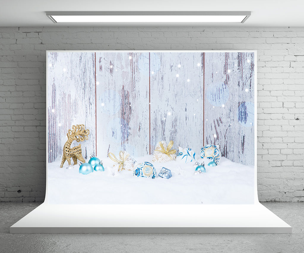 Snow Wood Wall Backdrop for Photography Christmas Background