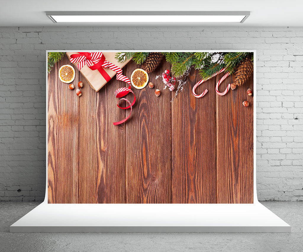 Pine Wood Board Photography Backdrop for Christmas