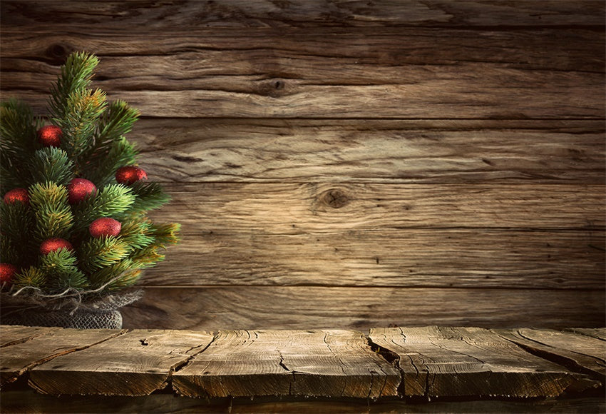 Wood Wall Photography Backdrop Christmas Tree Background