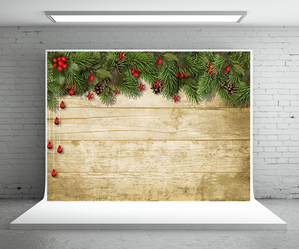 Pine Branch Wood Board Photography Backdrop for Christmas