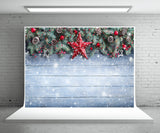 Snow Star Wood Wall Photography Backdrop Christmas Background