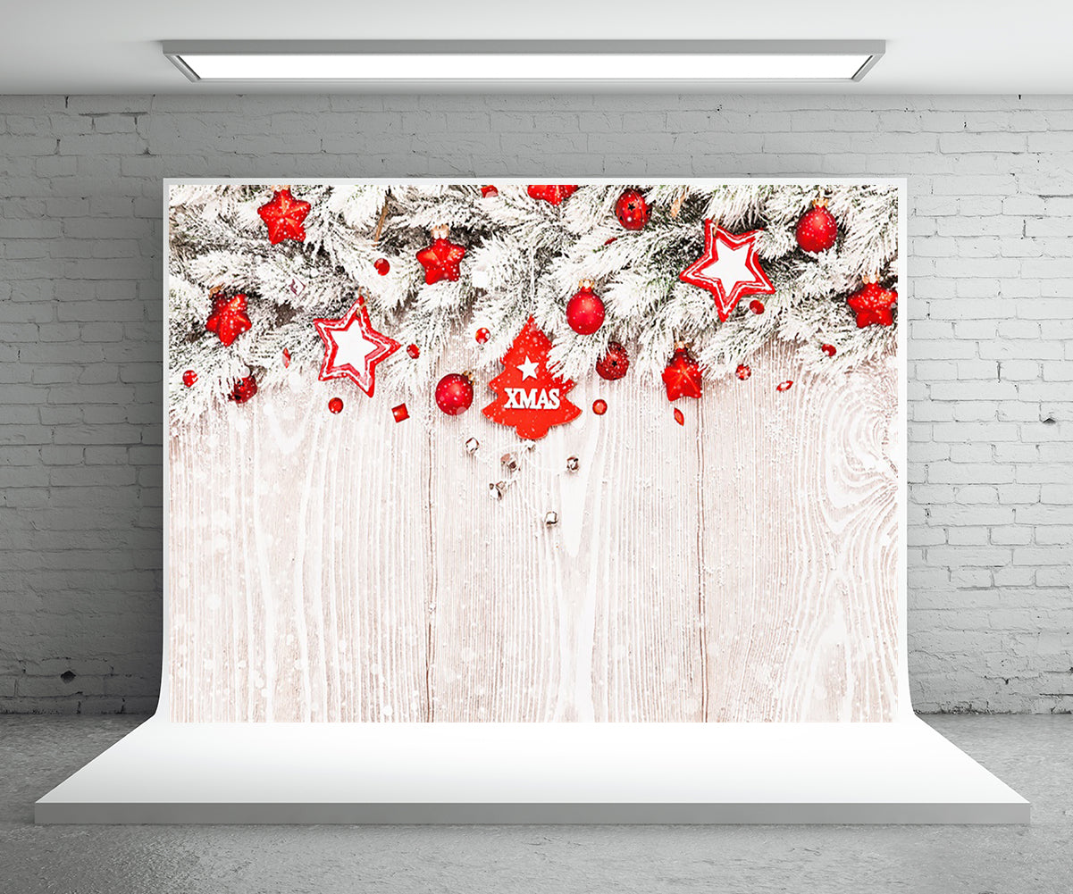 White Pine Branch Snowflake Photography Backdrop Chrisrmas Background