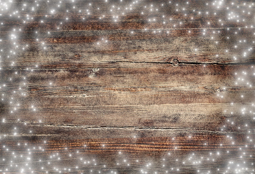Brown Snow Wood Board Photography Backdrop for Christmas
