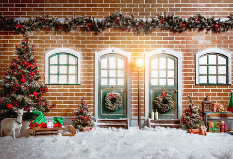 Red Brick Snow Christmas Backdrops for Photos