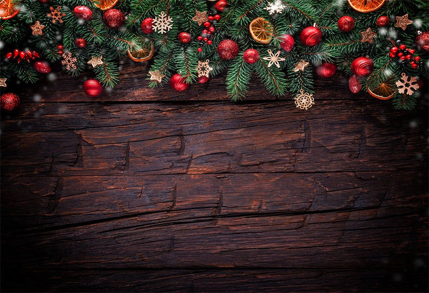 Christmas Photography Backdrop Dark Wood Wall Background