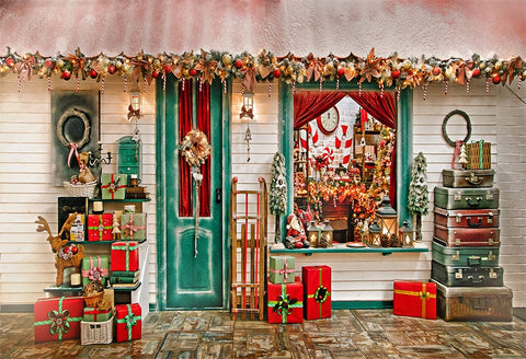 Merry Christmas Gift Shop Wood Floor Backdrops for Photo