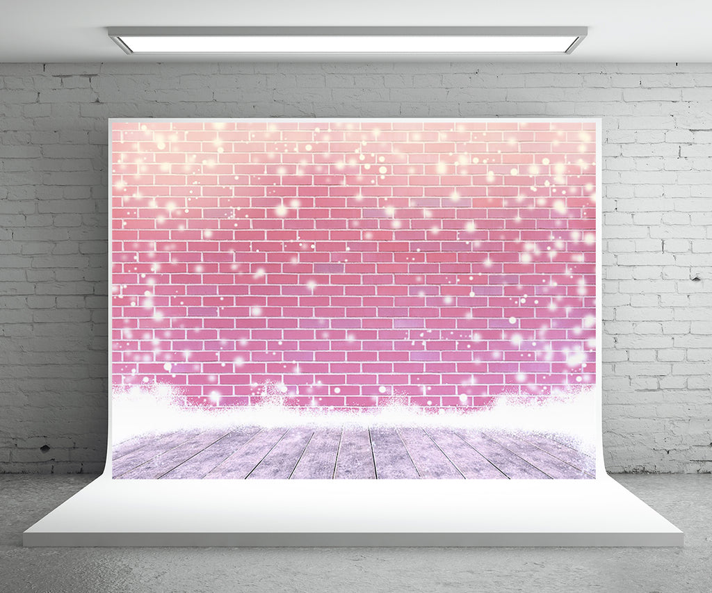 Snowflake Red Brick Wall Photography Backdrop Christmas Background