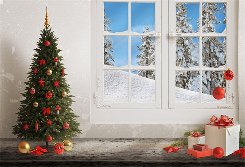 White Window Winter Christmas Photography Backdrops