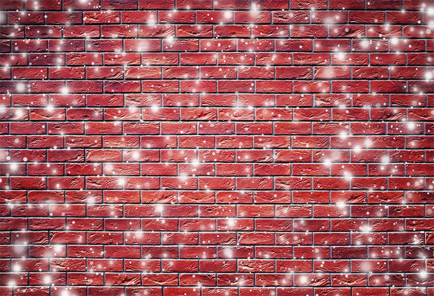Red Brick Wall Snowflake Photography Backdrop Christmas Background