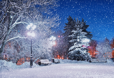 Night Snowing Photography Backdrop