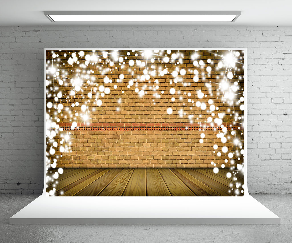 Light Brown Snowflake Brick Wall Photography Backdrop For Christmas