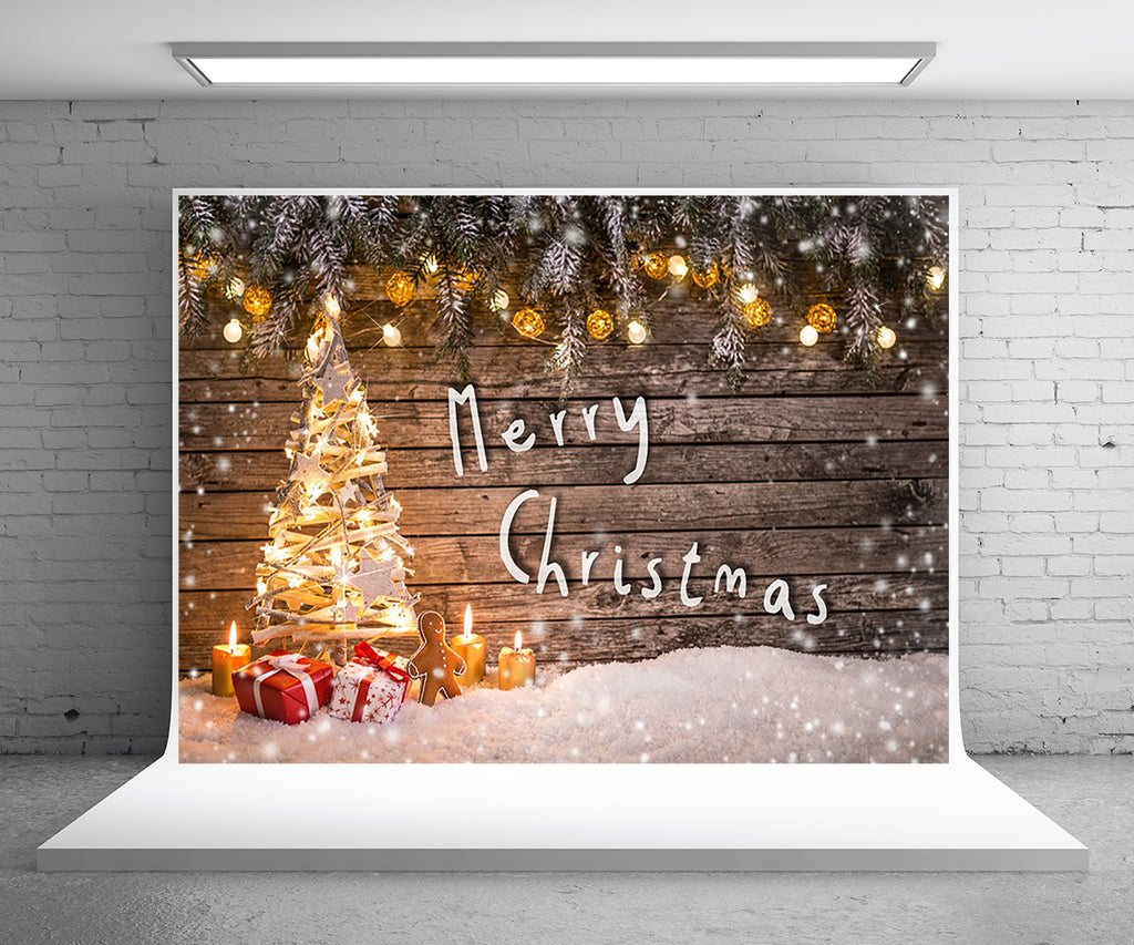 Merry Christmas Photography Backdrop Snow Background