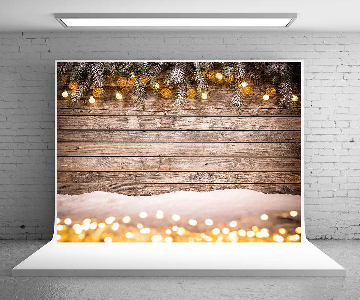 Christmas Photography Backdrop Wood Wall Snow Background