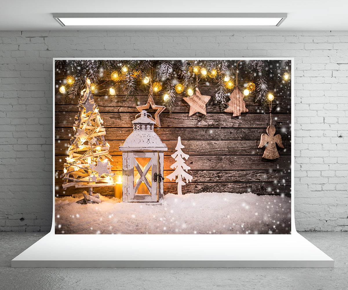 Light Star Christmas Tree Photography Backdrop for Decor