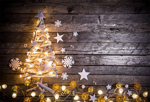 Chrisrtmas Tree Photography Backdrop Drak Wood Wall Background