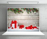 Christmas Gift Photography Backdrop Snow Wood Wall Background