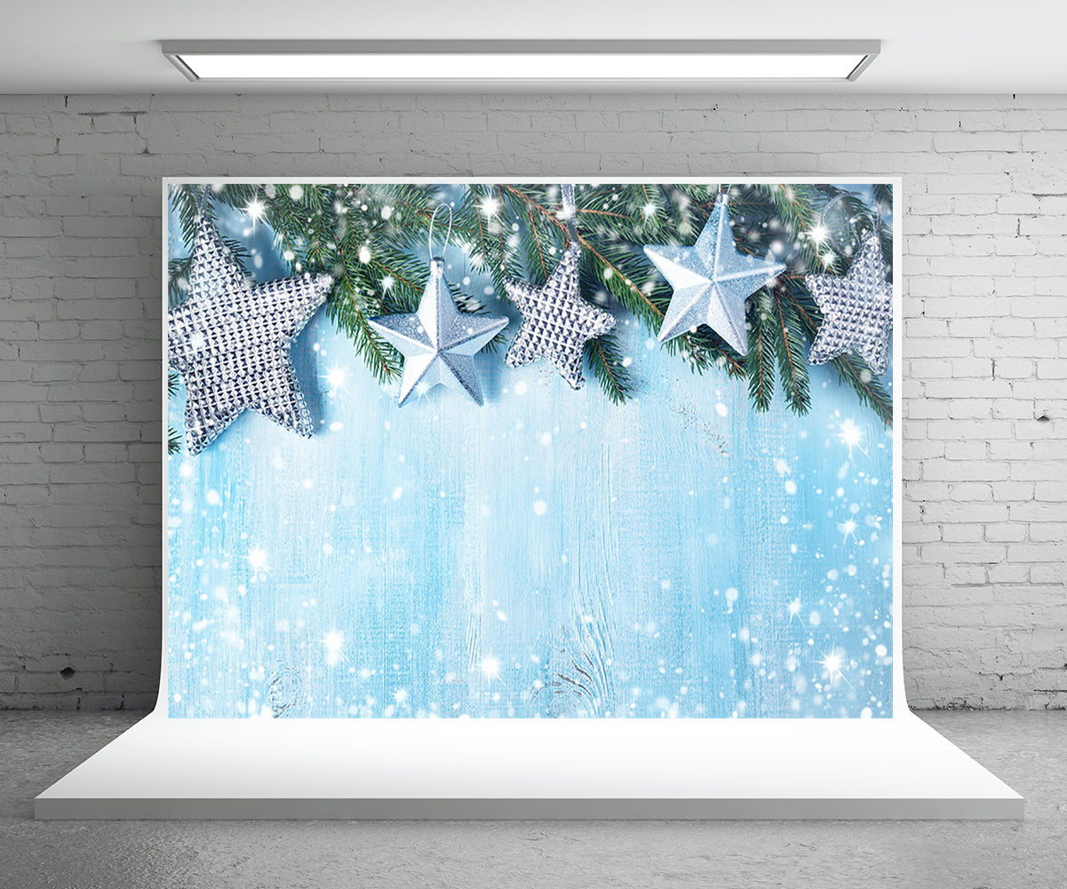 Star Snowflake Photography Backdrop Christmas Blue Wood Background
