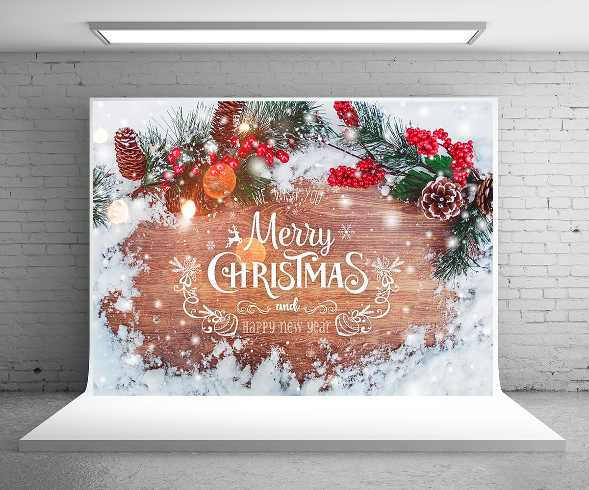 Snow coverd Wood Wall Photography Backdrop Christmas Background
