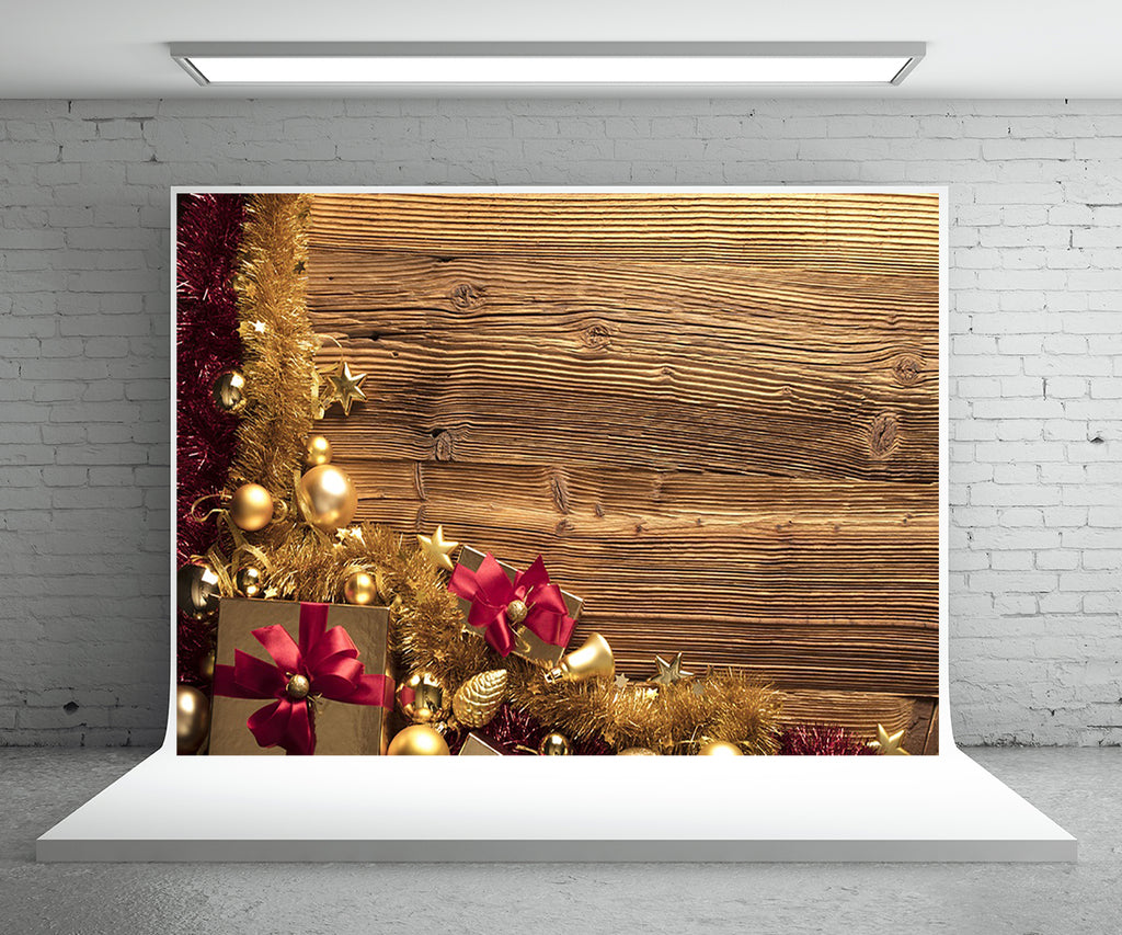 Christmas Gift Photography Backdrop Gold Wood Wall Background