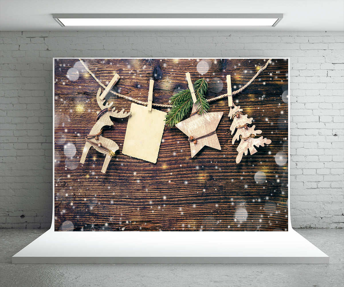 Snowflake Dark Wood Board Photography Backdrop for Christmas
