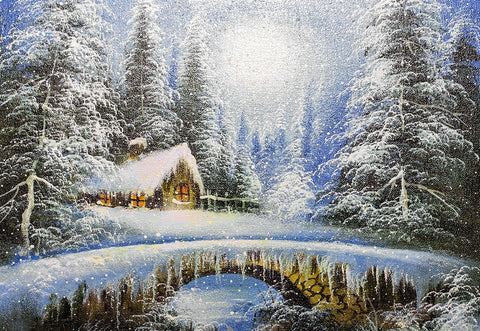 Winter Snowing Forest Houses Cartoon Style Photography Backdrop