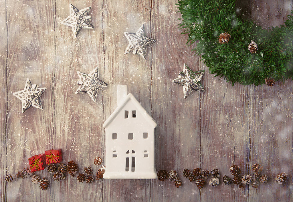 Star Pine Board Snowflake Photography Backdrop for Christmas