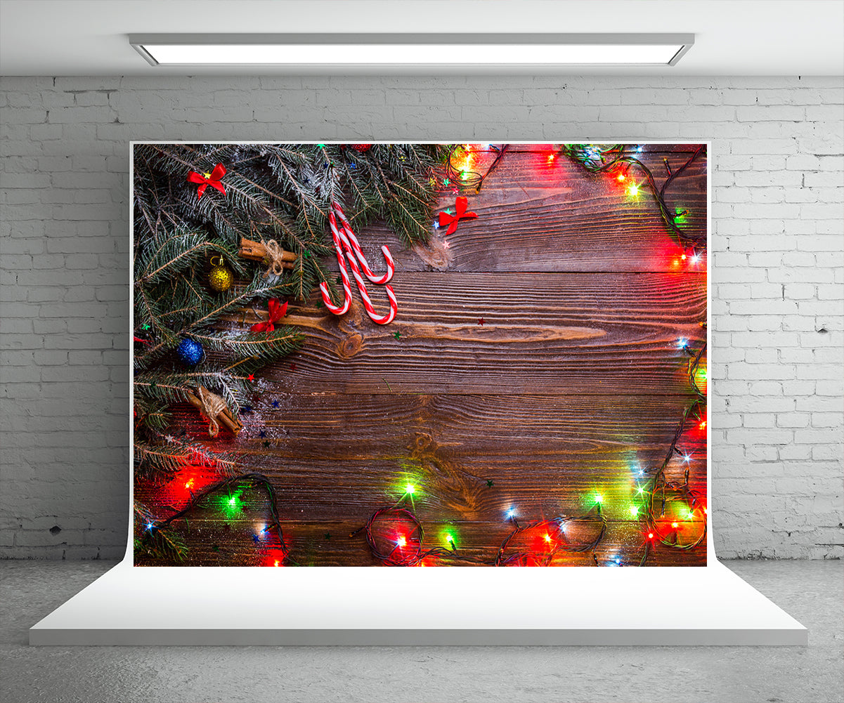 Christmas Wood Photography Backdrop Light Star Photo Background