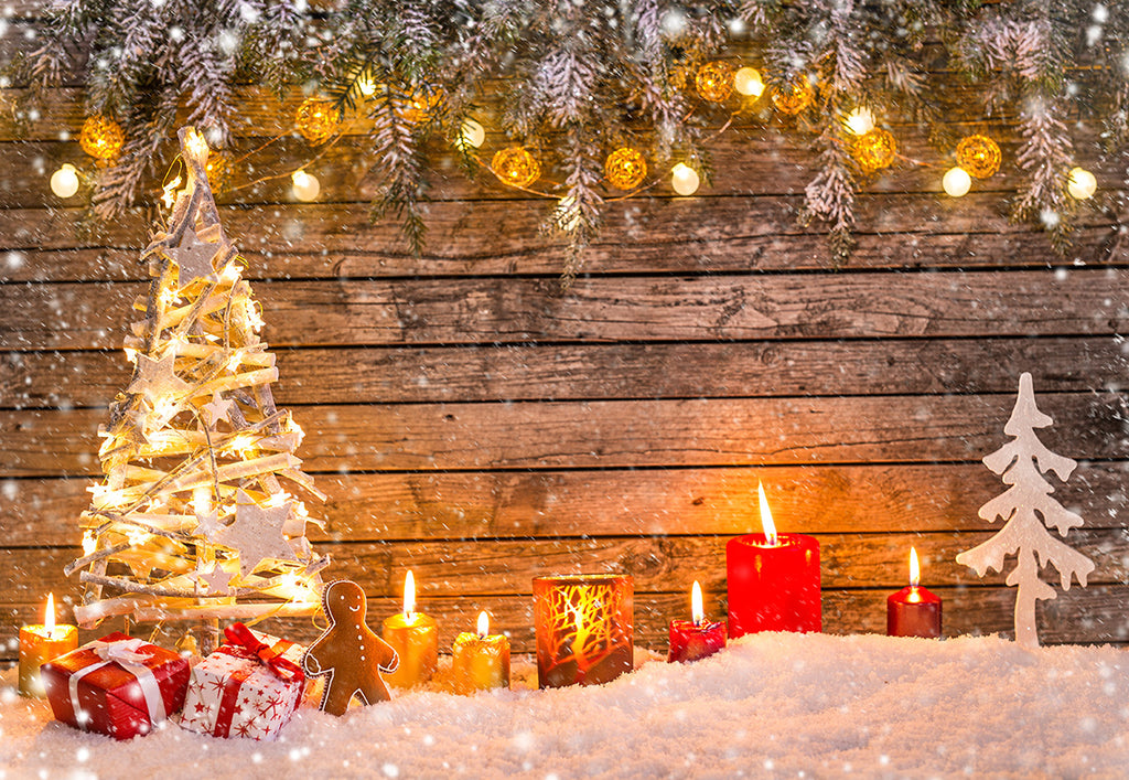 Christmas Tree Photography Backdrop Light Star Snow Background