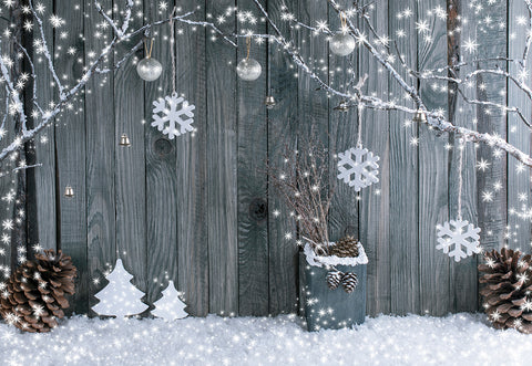 Christmas Snowflake Wood Wall Photography Backdrop