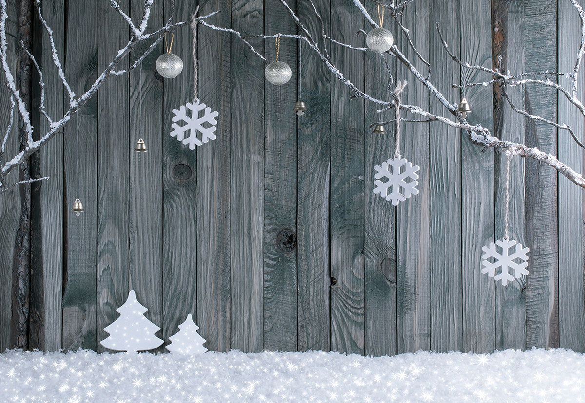 Christmas Photography Backdrop Snowflake Wood Wall Background