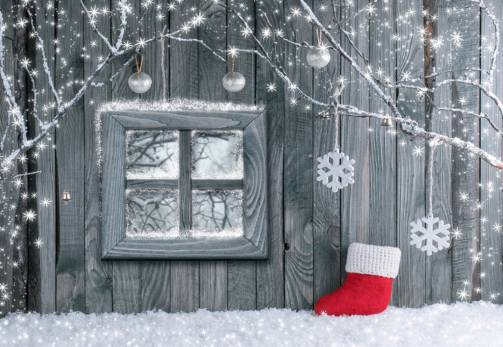 Christmas boot Photography Backdrop Snowflake Wood Wall Background
