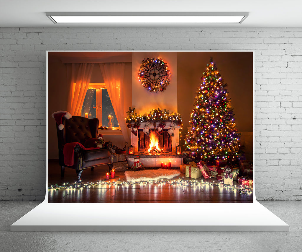 Christmas Tree Fireplace Photography Backdrop