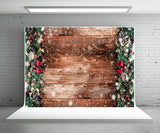 Christmas Snow Pine Board Backdrop for Photography
