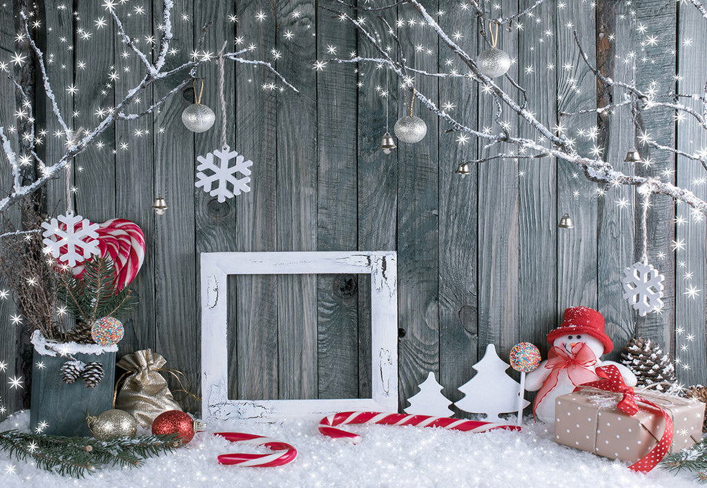 Christmas Grey Wood Wall Photography Backdrop Snowman Background