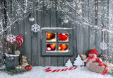 Christmas Wood Wall Photography Backdrop Snowflake Background
