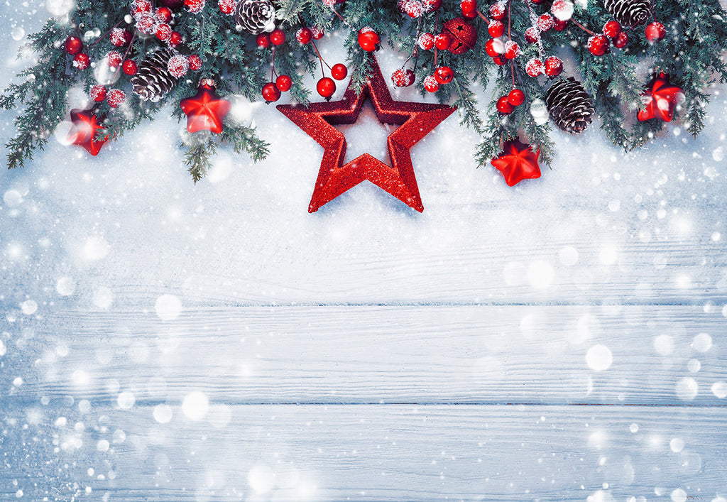 Christmas Wood Wall Photo Backdrop Snowflake Red Star Background
