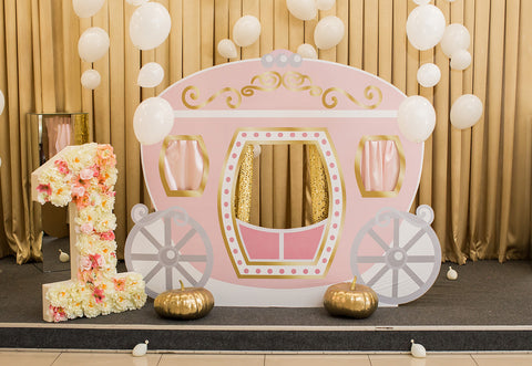 1st Birthday Pink Cartoon Pumpkin Car Backdrop